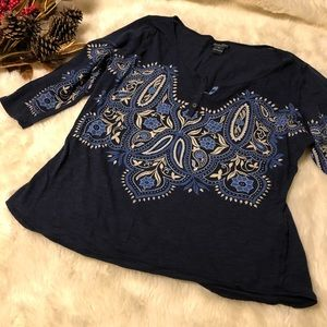 Lucky Brand Lightweight Navy Blue Top